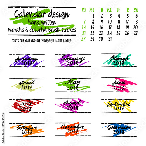 calendar design by months with colorful hand drawn elements and hand written lettering on white. Black Bedroom Furniture Sets. Home Design Ideas