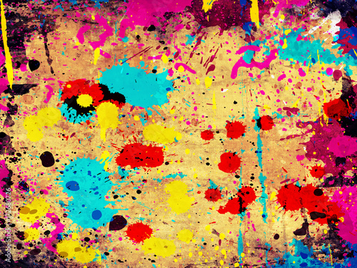 Fototapety, obrazy: colorful grunge background with stains of paint