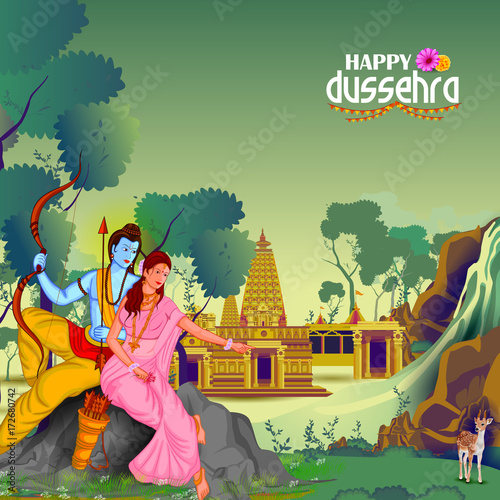 Happy Dussehra background showing festival of India Wallpaper Mural