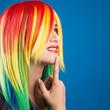 beautiful woman wearing color wig