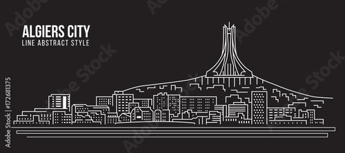 Photo Cityscape Building Line art Vector Illustration design - Algiers city