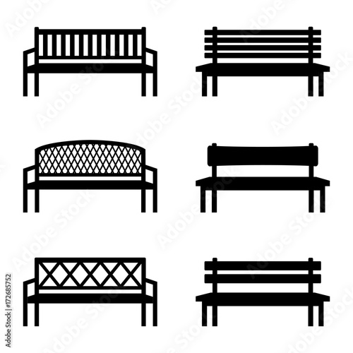 Valokuva Set of silhouettes of benches, vector illustration