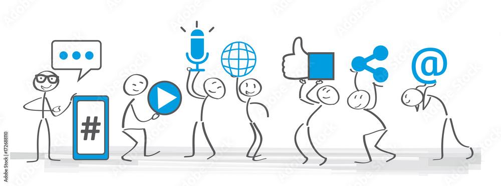 Fototapeta Soziale medien - Banner social media icons vector illustration wih stick figures