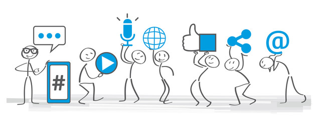 Soziale medien - Banner social media icons vector illustration wih stick figures