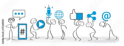 Cuadros en Lienzo Soziale medien - Banner social media icons vector illustration wih stick figures