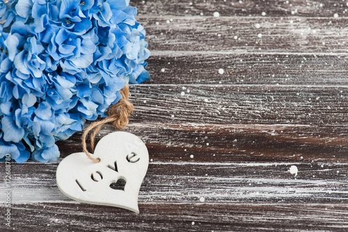 Blue hydrangea bouquet, heart