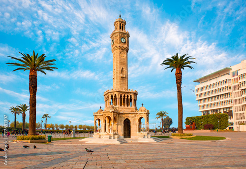 Aluminium Prints Turkey Izmir clock tower in Konak Square, Turkey