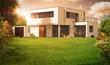 canvas print picture - Belle maison d'architecte avec soleil et beau jardin