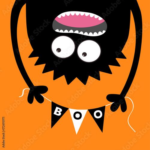 Happy Halloween Screaming Monster Head Silhouette Bunting Flags