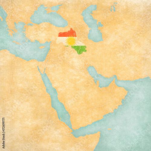 Fotografie, Obraz  Map of Middle East - Kurdistan