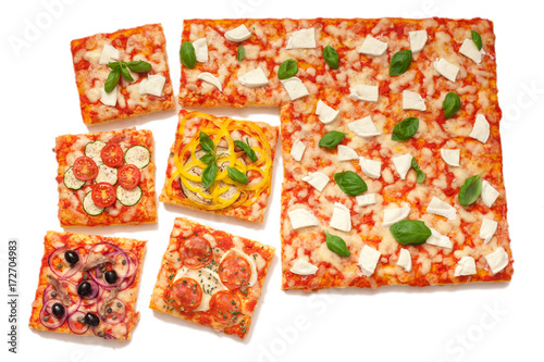 various flavors pizza cut into slices Wallpaper Mural