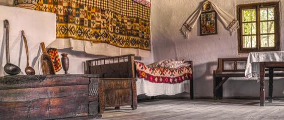 Traditional Romanian folk house interior