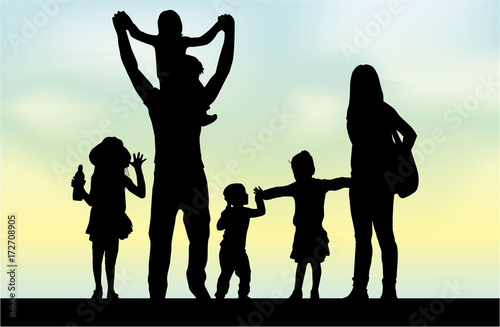 Fototapety, obrazy: Family silhouettes in nature.