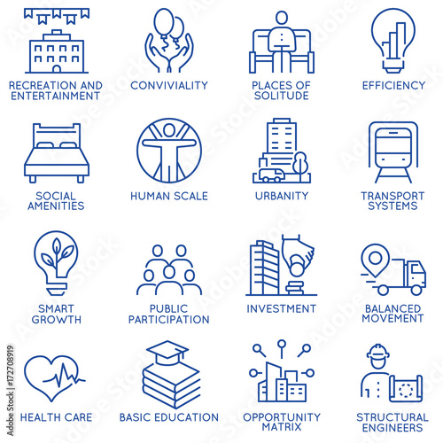 Photo Vector set of thin linear 16 icons related to technology for intelligent urbanism, smart city and urban development
