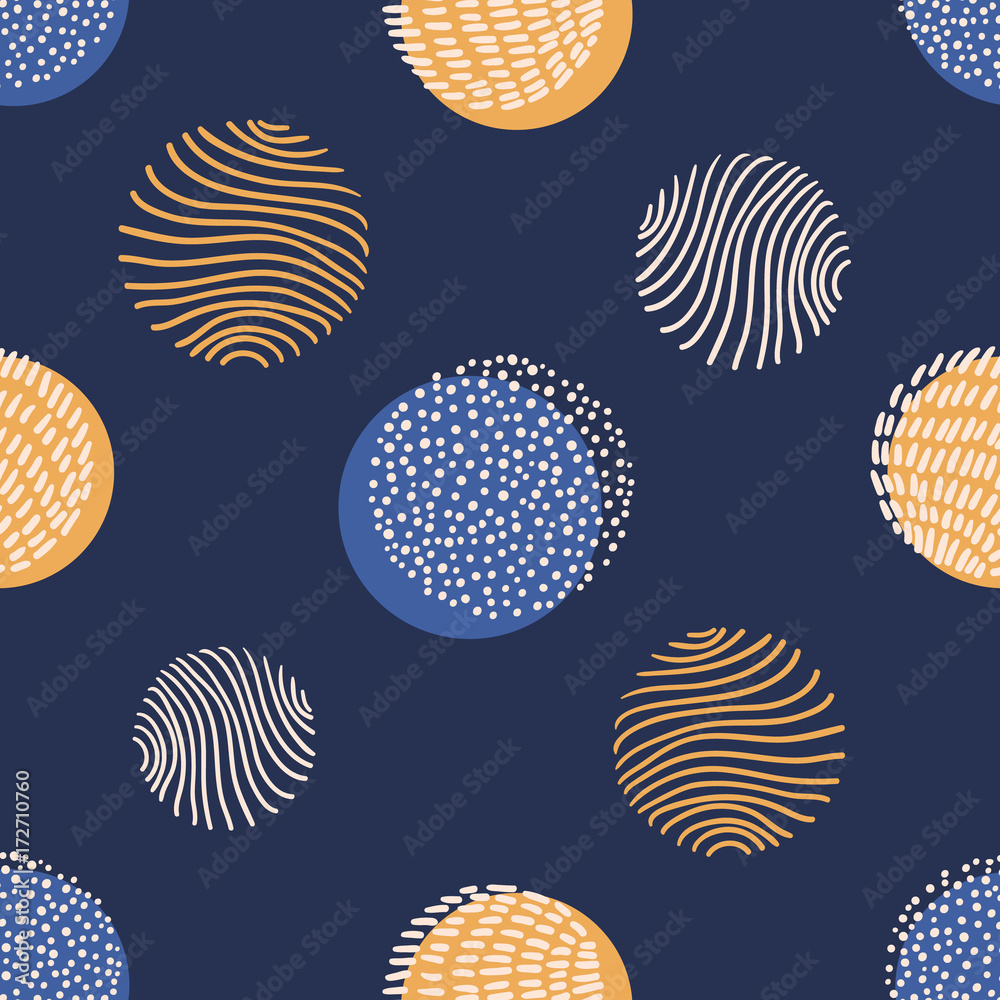 Hand drawn stylish modern dark blue seamless abstract pattern, scandinavian design style. Vector illustration