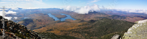 Lake Placid panorama view from top of Whiteface Mountain in fall, Adirondack Mou Wallpaper Mural