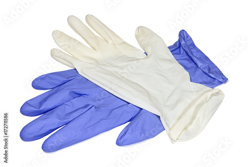 White and blue latex gloves Canvas Print