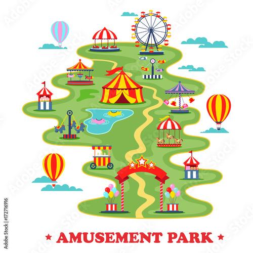 Zdjęcie XXL Mapa parku rozrywki lub cyrku z atrakcjami