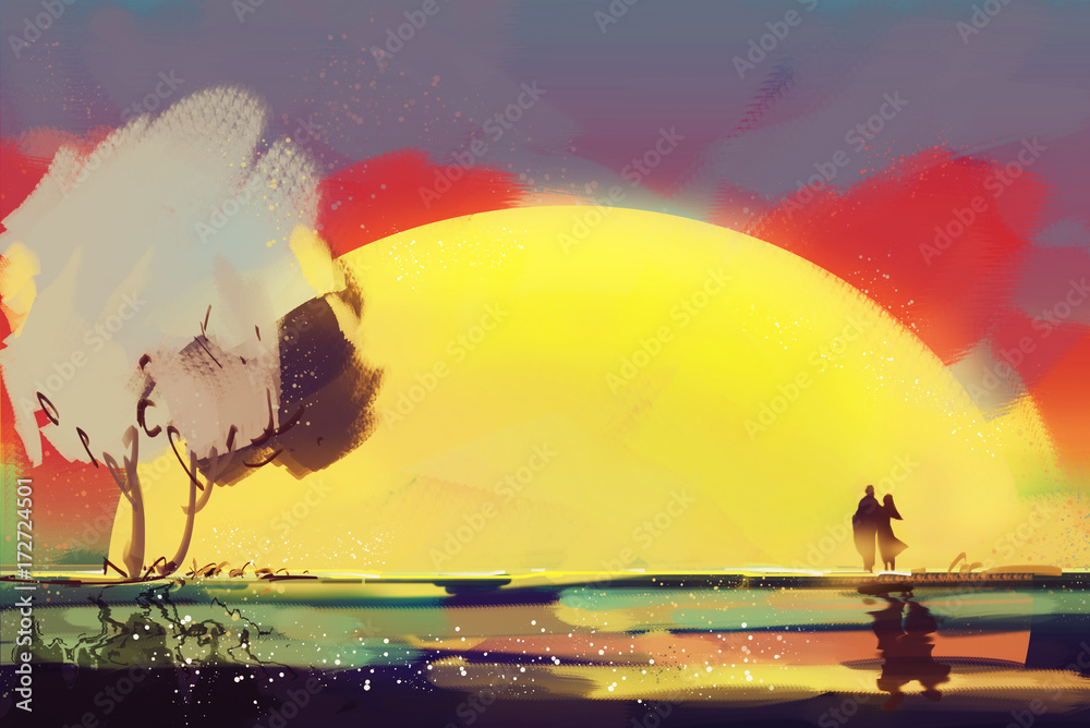 Digital painting style Oil. Lovers are watching the sunset.