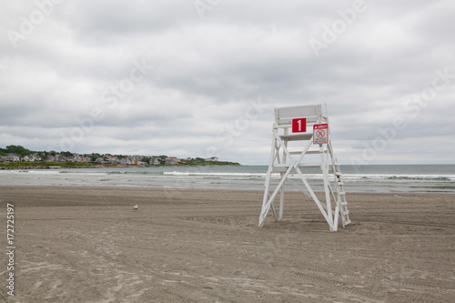 Photo  Watchtower on the empty beach in Middletown,Rhode Island, USA