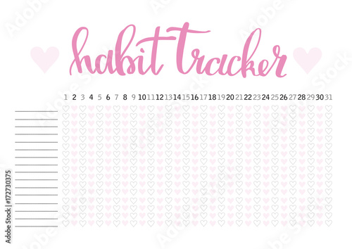 Photo  Monthly planner habit tracker blank template