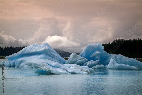 Fotobehang Gletsjers Icebergs from the Leconte Glacier. Colorful ice from the Leconte Glacier moves out to LeConte Bay on the inside passage in southeast Alaska near the city of Petersburg.
