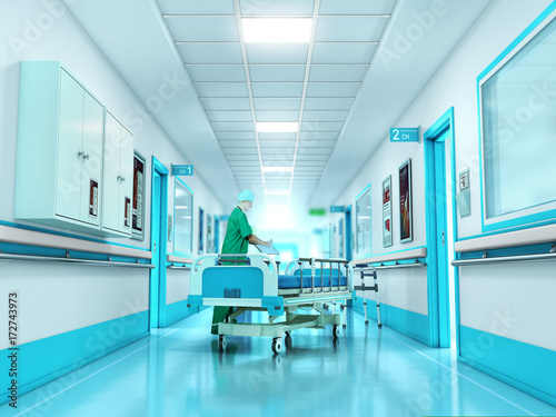 Plakat Pojęcie medyczne. Szpitalny korytarz z pokojami. 3d ilustracja