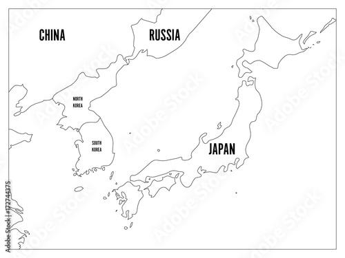 Political map of Korean and Japanese region, South Korea ...