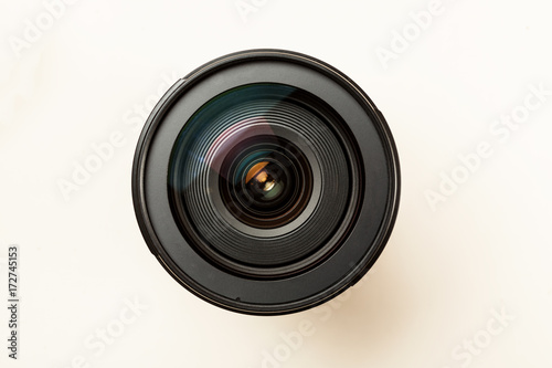 Obraz Photo lens with reflection closeup shot, top view - fototapety do salonu