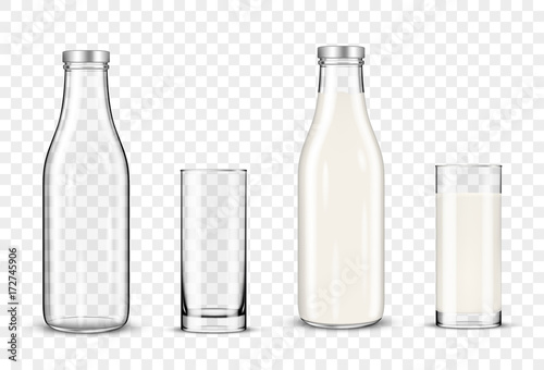 Set of glasses and bottles with a milk on transparent background Tablou Canvas
