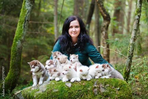 Breeder of dogs with their pets Fototapeta