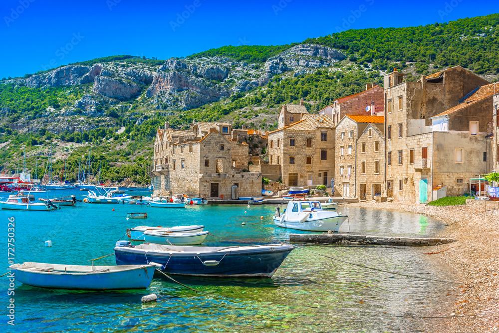 Fototapety, obrazy: KOmiza seascape Island Vis. / Seafront scenic view at Komiza summer scenery in South of Croatia, mediterranean travel places.