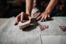 Girl Is Engaged In Stamping On Fabric