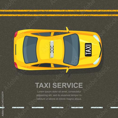 Zdjęcie XXL Koncepcja usług taksówkowych. Szablon transparent wektor, plakat lub ulotki tło. Taxi żółta taksówka na asfaltowej drogi tle. Uliczny ruch drogowy, parking, miasto transportu ilustracja.