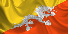 Waving Flag Of The Bhutan. Fla...