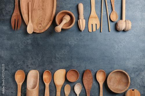 Valokuva  Composition with kitchen utensils on grey background