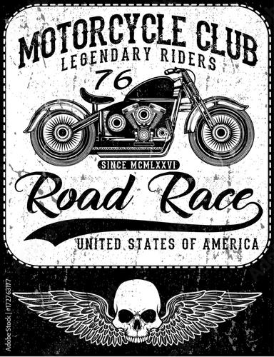 Plakaty motory   zabytkowy-motocykl-recznie-rysowane-ilustracja-vintage-grunge