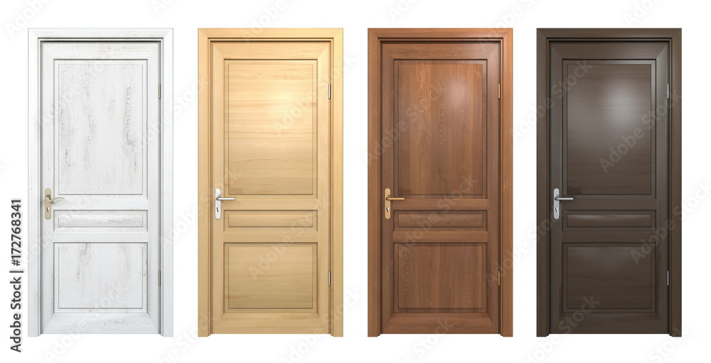 Fototapety, obrazy: Collection of different wooden doors isolated on white