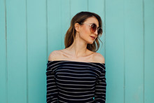 Beautiful Young Woman With Retro Sunglasses