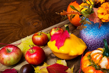 Ripe Apples And Yellow Gourd Thanksgiving Background