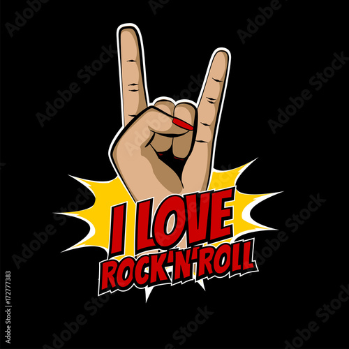 Plakat Dziewczyna metal strony wow rock pop-artu, stylu cartoon. Komiks muzyka tekst wektor ilustracja. Zaproszenie na godło strony. Projekt szkic rocznika handdrawn. Rocknot rock retro kobieta.