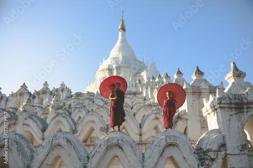 Novices under umbrellas at historic temple, Mingun, Mandalay, Myanmar Poster