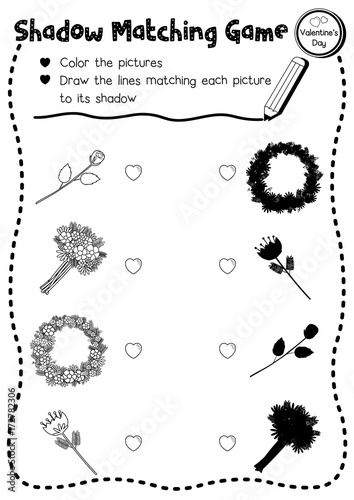 photo about Preschool Valentine Printable Worksheets titled Shadow matching activity of bouquets for preschool little ones recreation