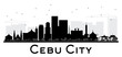 Cebu City skyline black and white silhouette.