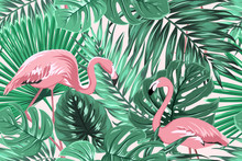 Tropical Seamless Pattern Texture With Exotic Green Palm Jungle Tree Monstera Leaves And Pink Flamingo Birds Couple. Vector Design Illustration For Background, Decoration, Fashion, Fabric, Textile.