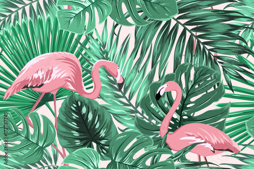 Cotton fabric Tropical seamless pattern texture with exotic green palm jungle tree monstera leaves and pink flamingo birds couple. Vector design illustration for background, decoration, fashion, fabric, textile.