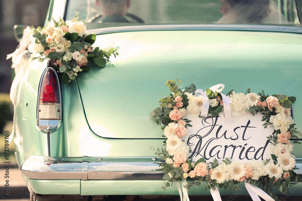 Fototapety, obrazy: Beautiful wedding car with plate JUST MARRIED