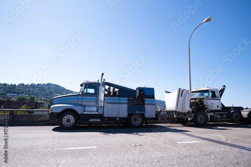 Mobile repair shop on the basis of towing semi truck is repairing