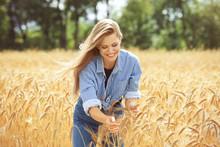 Woman Touching Wheat Spikelets In Field