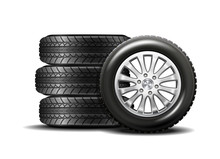 Car Tires Isolated On White Ba...